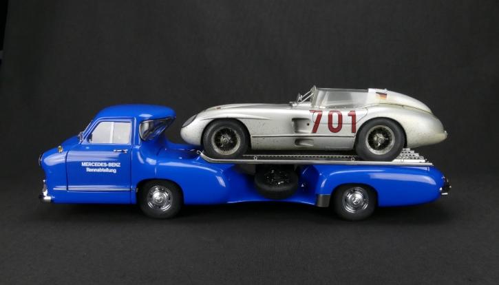 "Mercedes-Benz Racing Car Transporter ""Blue Wonder"" + 300 SLR #701 Dirty Hero ® Bundle"