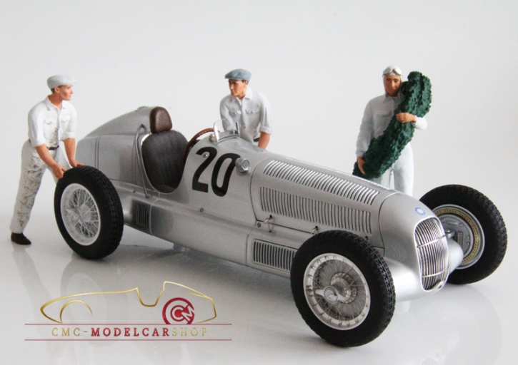 Figutec Set Rennfahrer Mercedes neben dem Auto stehend und 2 Mechaniker figurines 1:18