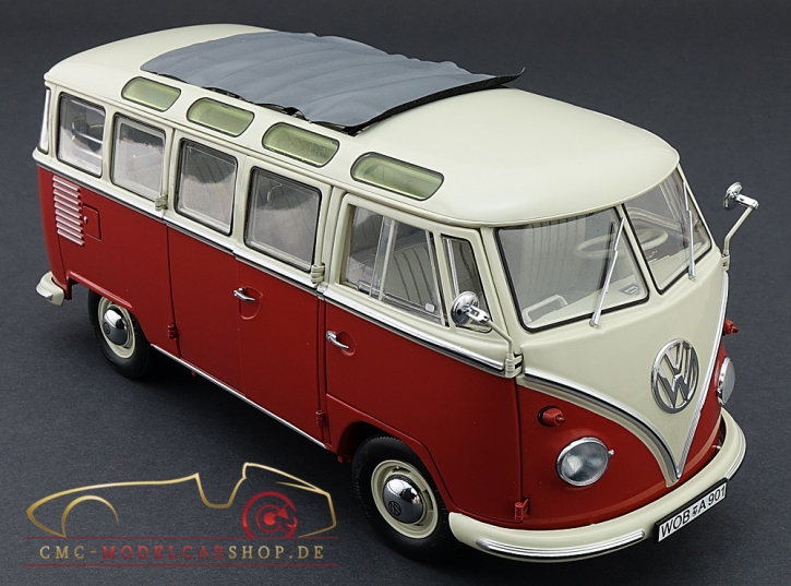 Schuco VW T1 Samba Bus, 1959-1963, red/white 1:18