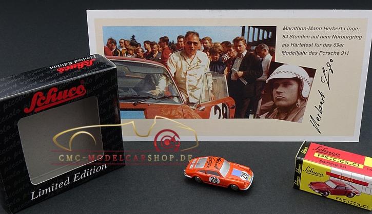Schuco Piccolo Porsche 911 Marathon de la Route 1968, signed by Herbert Linge