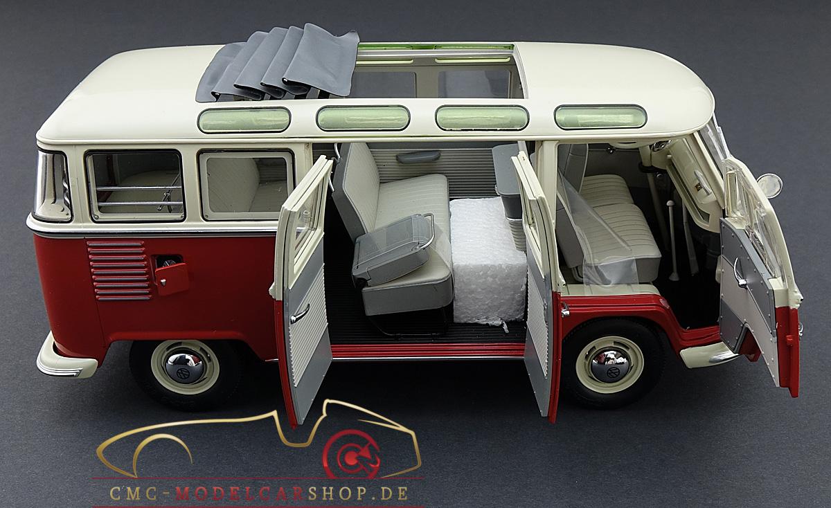 schuco vw t1 samba bus 1959 1963 red white 1 18 450028000. Black Bedroom Furniture Sets. Home Design Ideas