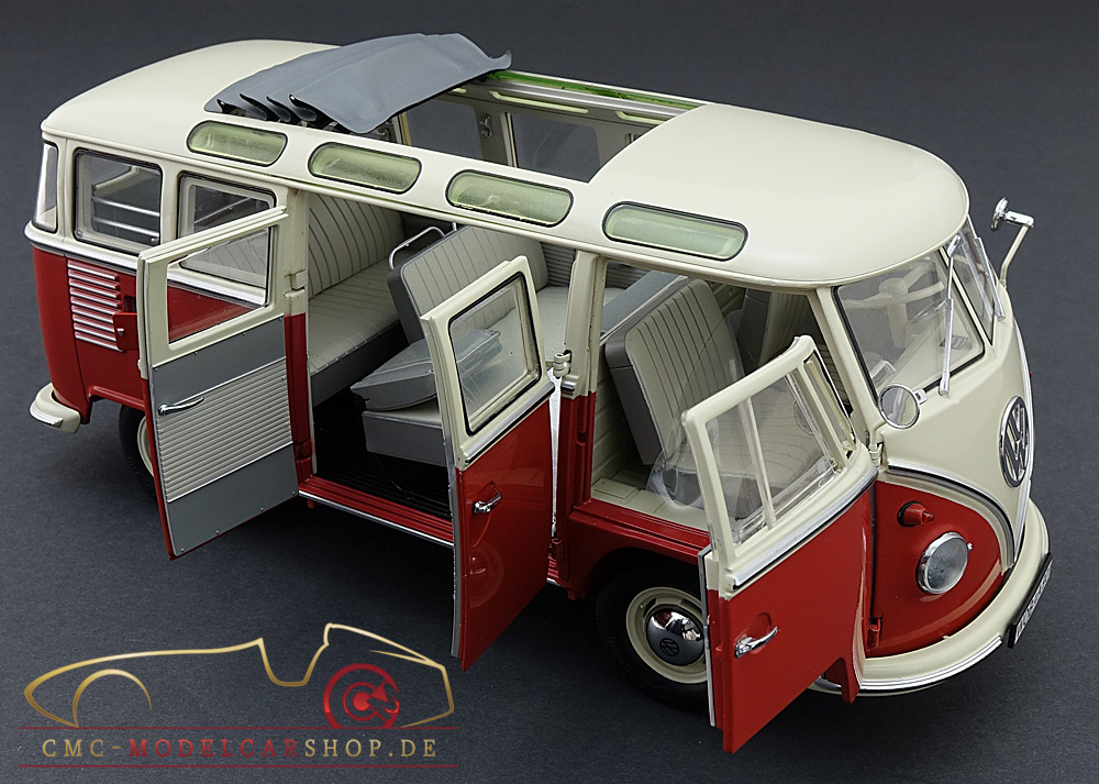 schuco vw t1 samba bus, 1959-1963, red/white 1:18-450028000