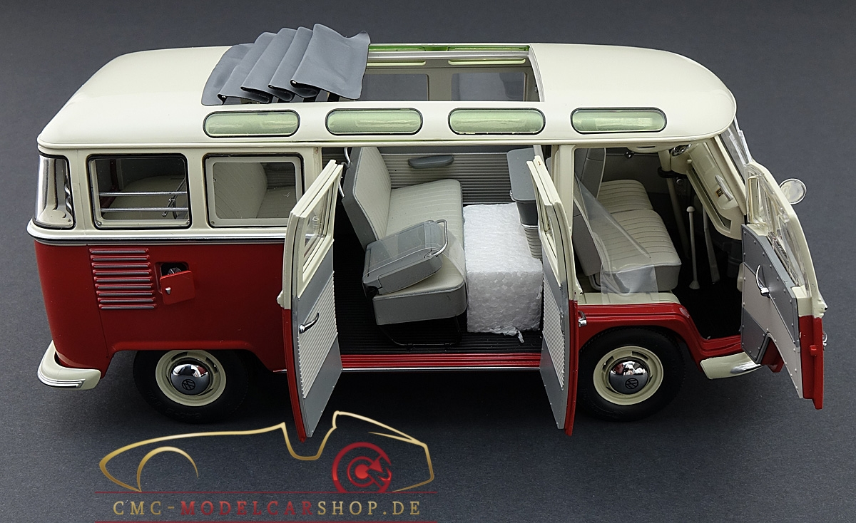 schuco vw t1 samba bus rot weiss 1 18 450028000. Black Bedroom Furniture Sets. Home Design Ideas