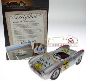 Autoart Porsche 550 RS Spyder, orig. signiert Hans Herrmann, Panamericana 1954, nummerierte Limitierte Edition 65 Stück