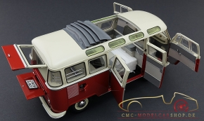 Schuco VW T1 Samba Bus, rot/weiss 1:18